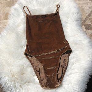 Anne Klein Brown Velvet One Piece Swimsuit